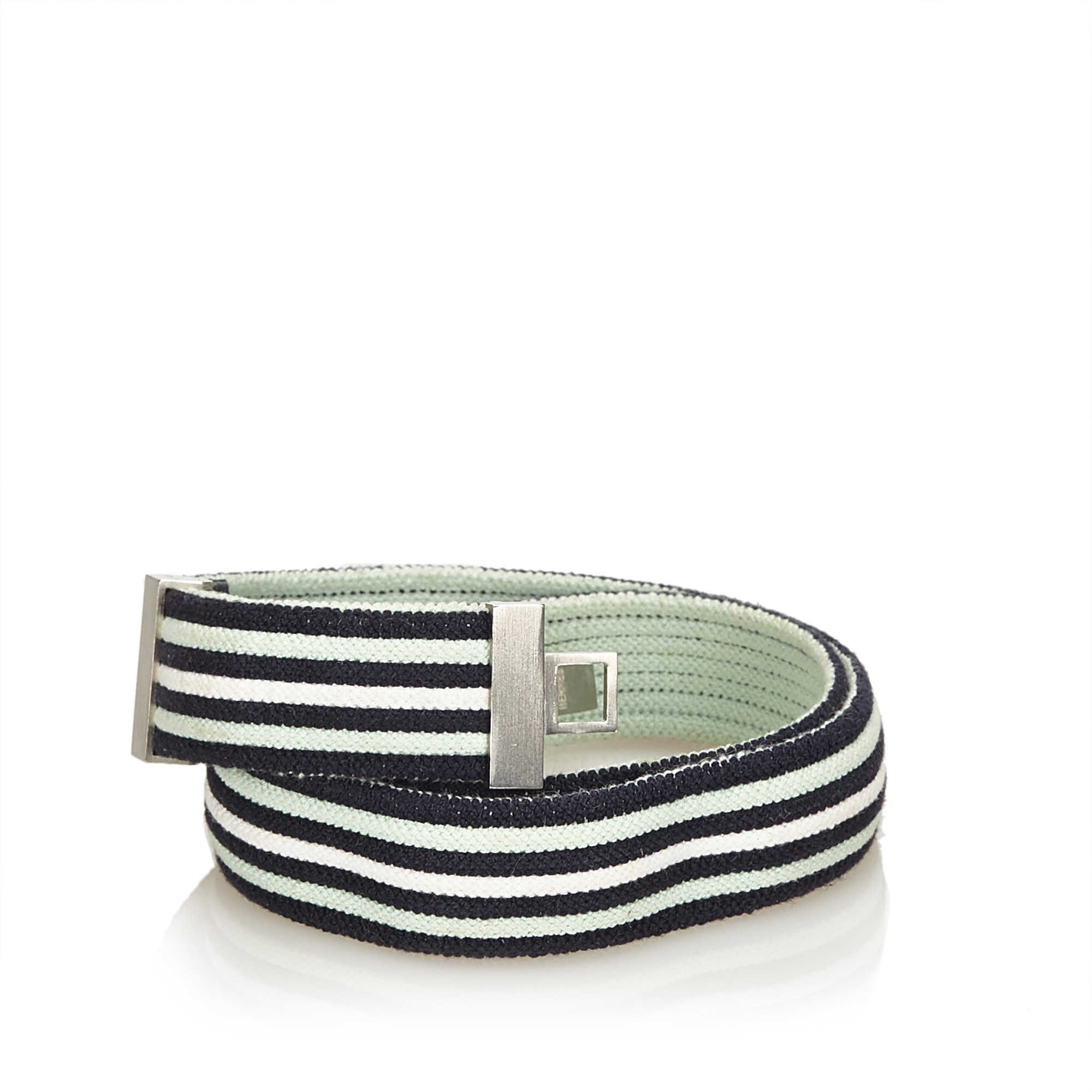 Pre-Loved-Hermes-Blue-Navy-Cotton-Fabric-Belt-France