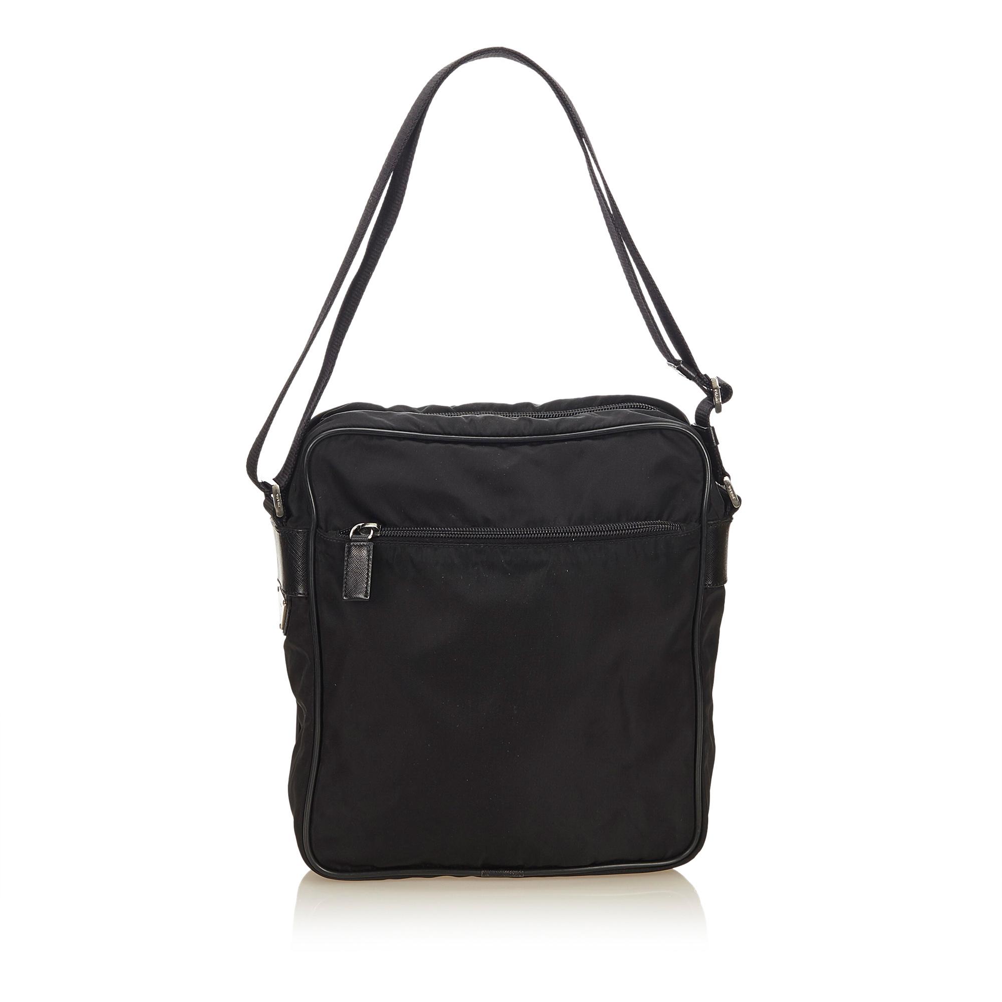 598759fdb9fb Image is loading Pre-Loved-Prada-Black-Nylon-Fabric-Crossbody-Bag-