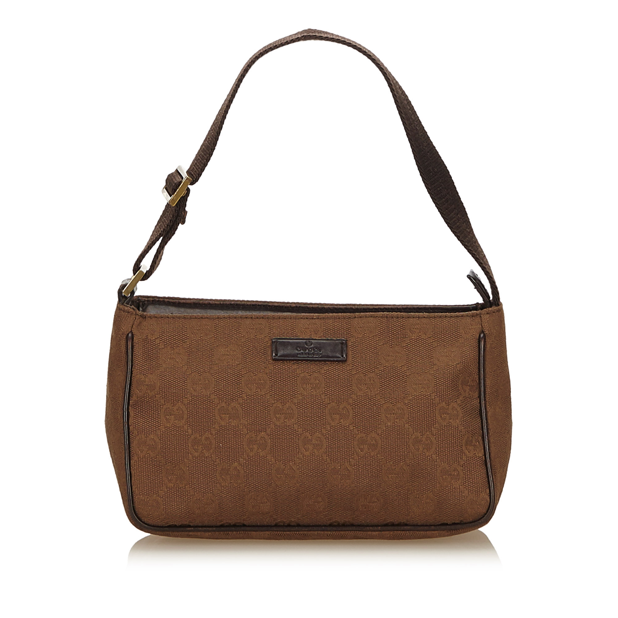 6ce6fe8e77dbd6 Image is loading Pre-Loved-Gucci-Brown-Jacquard-Fabric-Guccissima-Baguette-
