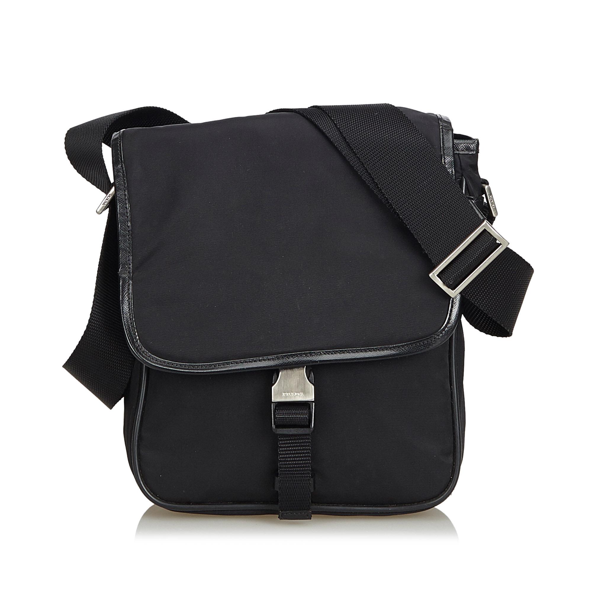 bb7d3398f9 VINTAGE PRADA BLACK Nylon Fabric Crossbody Bag Italy - $349.00 ...