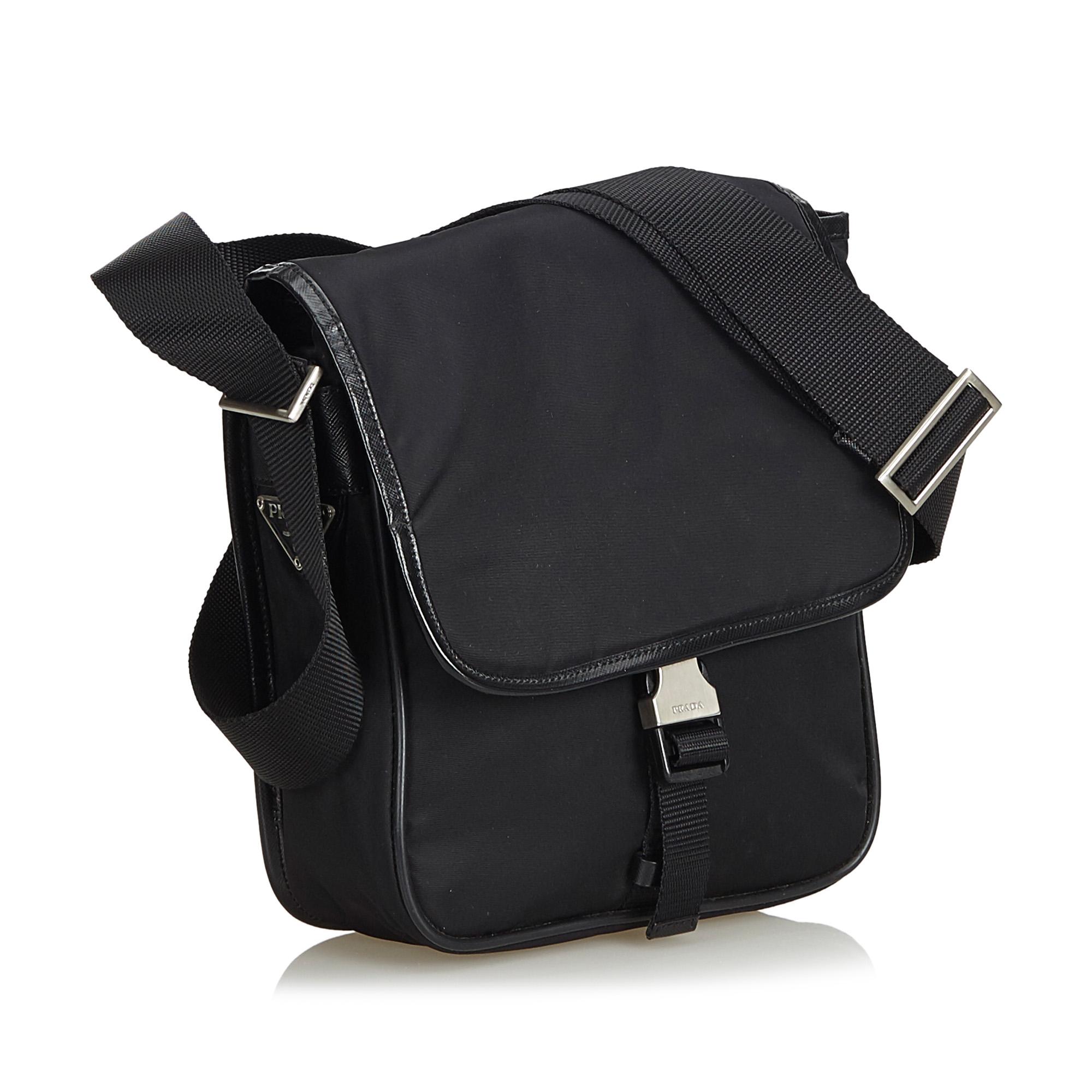 98598ab005d1 Vintage Prada Black Nylon Fabric Crossbody Bag Italy 2 2 of 12 ...