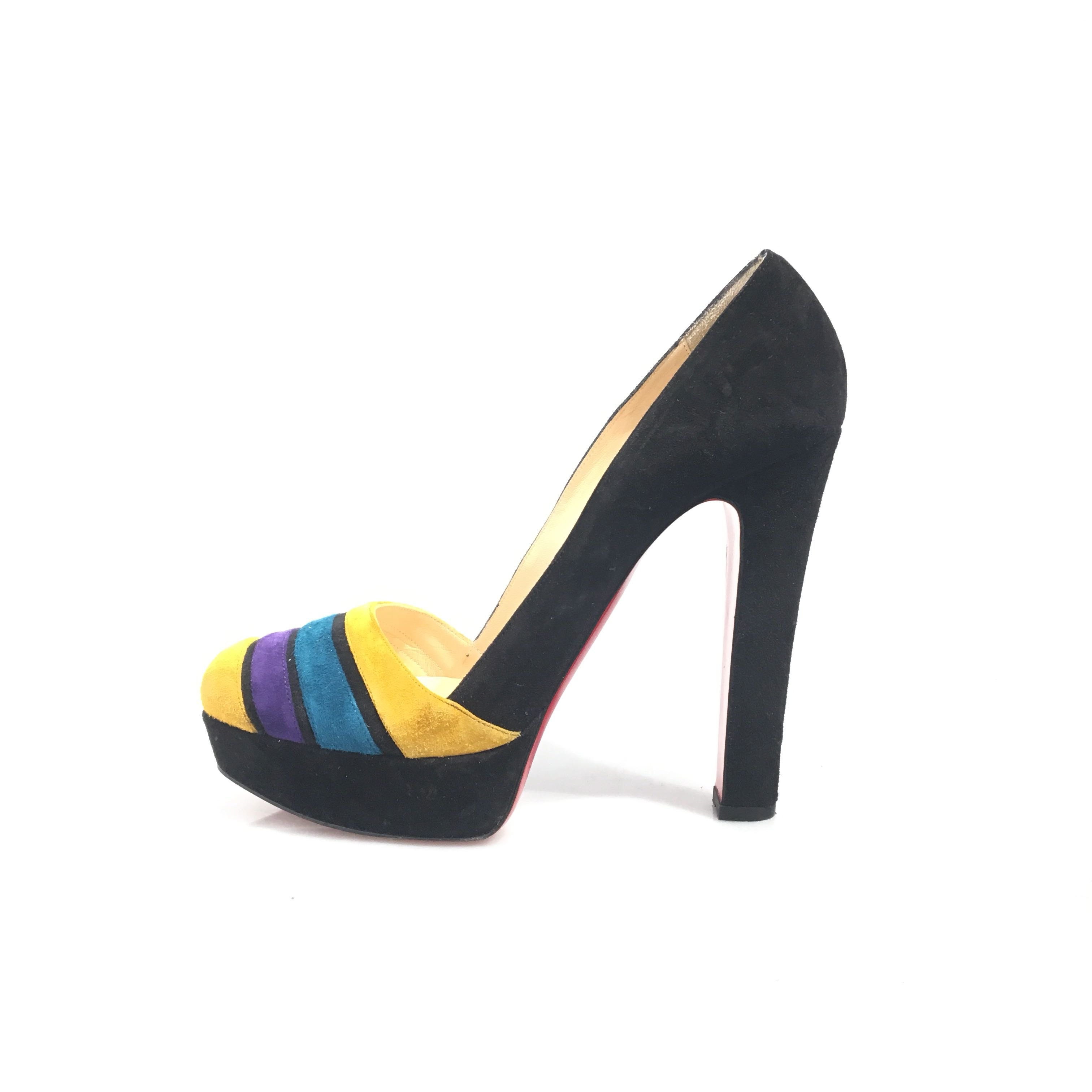brand new 22341 339ed Details about Pre-Loved Christian Louboutin Black Suede Leather Multi-Color  Pumps Italy