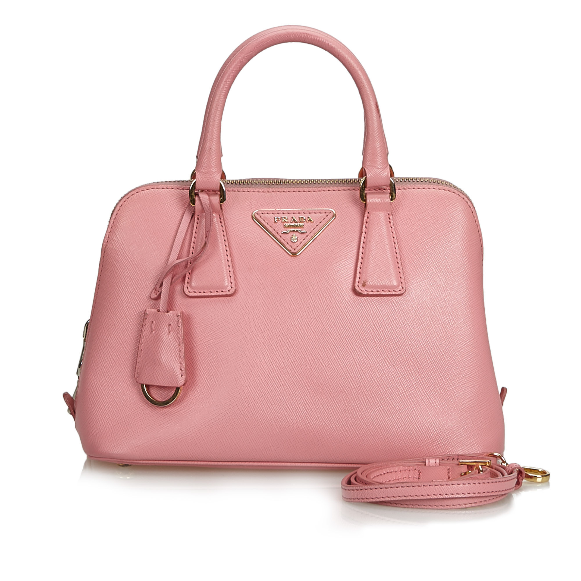8a38cad3892571 Image is loading Vintage-Prada-Pink-Others-Leather-Saffiano-Lux-Promenade-