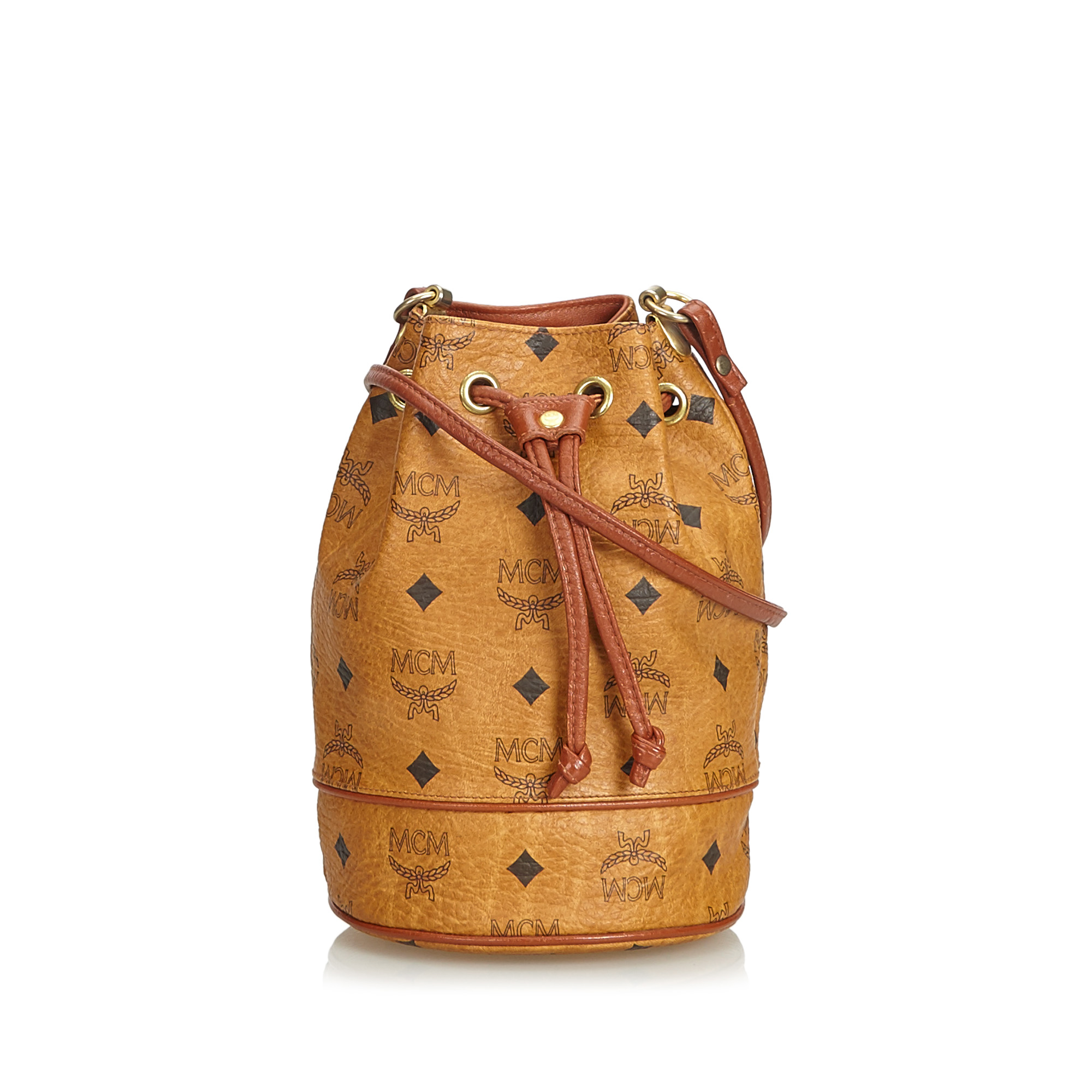 6f0f38c3f Image is loading Vintage-MCM-Brown-Others-Leather-Visetos-Drawstring-Bucket-