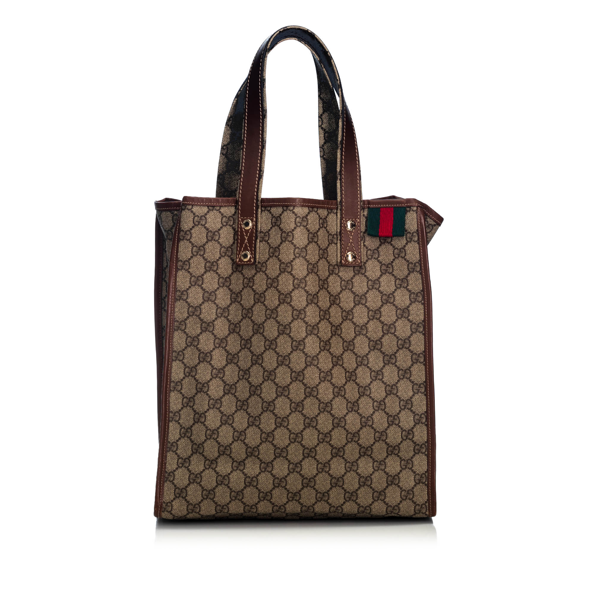8e8ee50c9d13 Pre-Loved Gucci Brown Beige Coated Canvas Fabric GG Supreme Web Tote ...