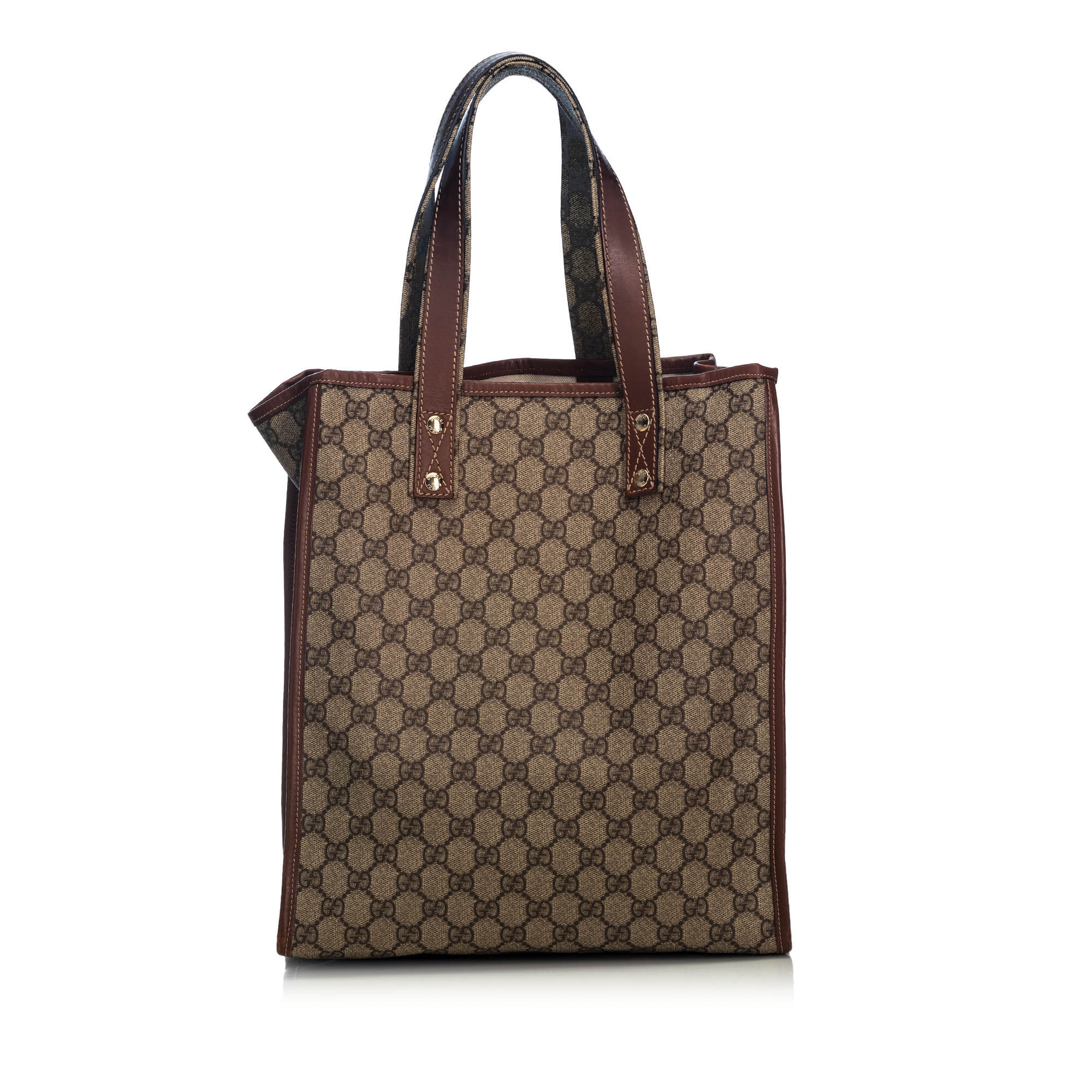 9486f5fd5c9f02 Pre-Loved Gucci Brown Beige Coated Canvas Fabric GG Supreme Web Tote ...