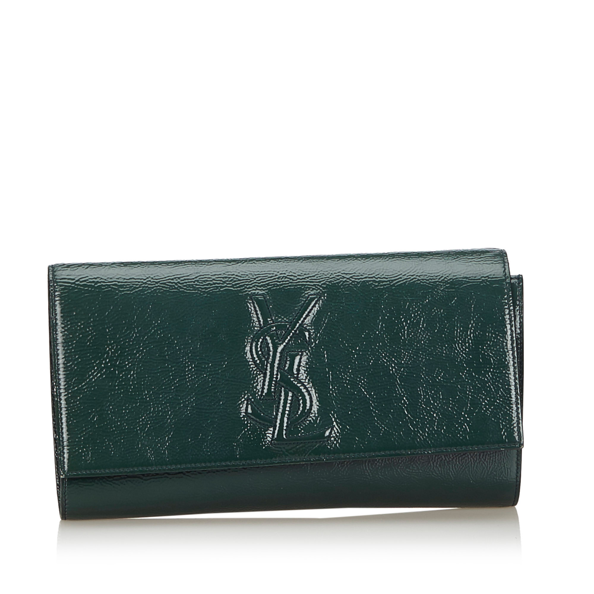 top-rated professional best shoes selected material Details about Pre-Loved YSL Green Patent Leather Belle du Jour Clutch France