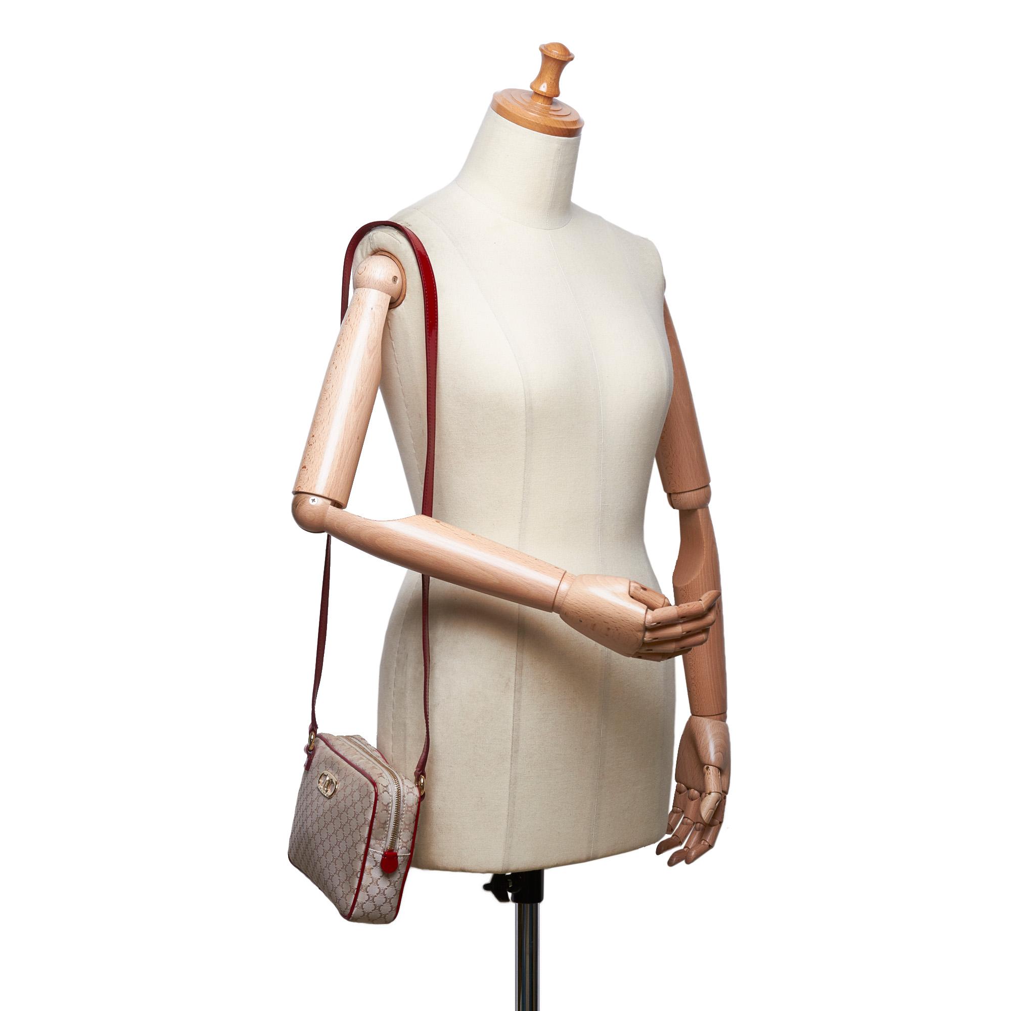 01b5d9c95c98e Pre-Loved Celine Brown Beige Canvas Fabric Macadam Crossbody Bag ...